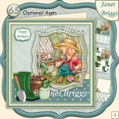 MALE GARDENER GARDENING SUPRISE 8x8 Decoupage Insert & Ages Kit