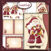 Wavy edge Here comes Santa card set