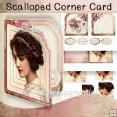 Scalloped Corner Card vintage with love