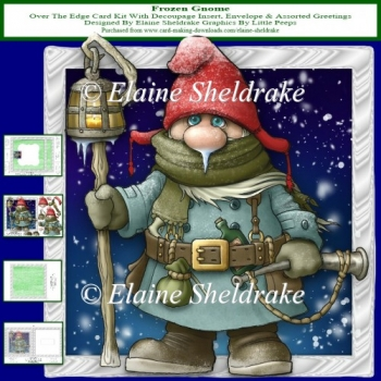 Frozen Gnome Over The Edge Card Kit With Decoupage & Insert