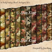 10 Truely Vintage Floral A4 Papers Set 2
