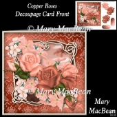 Copper Roses Decoupage Card Front
