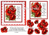 We Must Always Plant Poppies 6 x 6 Card Topper With Decoupage