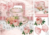 shabby chic teacup & roses with lace & bow 8x8