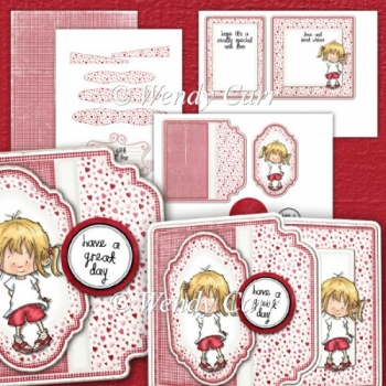 RTP Square Fancy Edger Card - Too Cute - Girl(Retiring in August