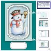 5 x 7 Christmas Snowman Card Kit Matching Insert, Envelope,Tags