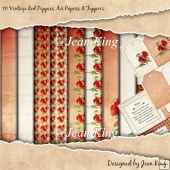 10 Vintage Red Poppies A4 Papers & Toppers