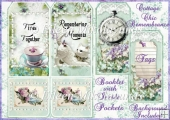 Cottage Chic Remembrance Tag Booklet Pocket Greeting Card Set