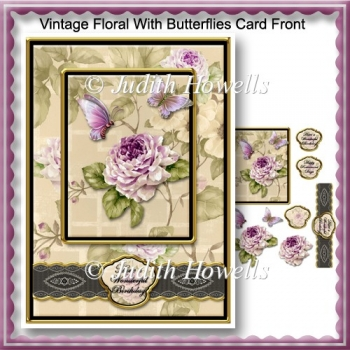 Vintage Floral With Butterflies Card Front