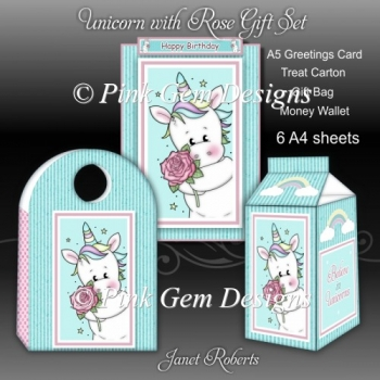 Unicorn with Rose Gift Set with Ages 1 to 8 Years