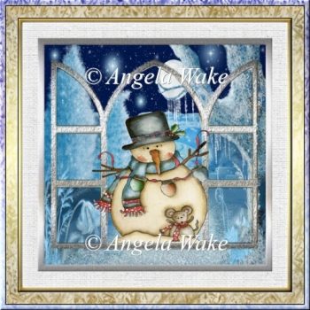 Snowman in wonderland 7x7 card with decoupage