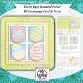 Easter Eggs Squares Rounded Corner Decoupage Card and Insert