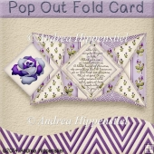 Pop Out Fold Card purple Rose