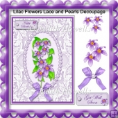Lilac Flowers Lace and Pearls Decoupage