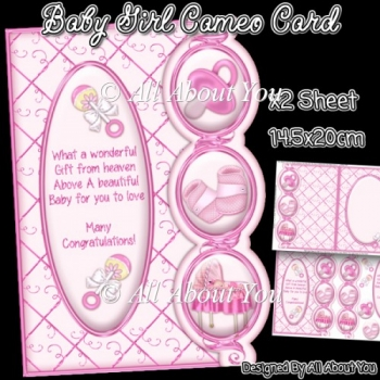 Baby Girl Cameo Card