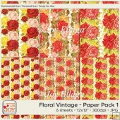 12x12 CU Floral Vintage Patterned Papers 1