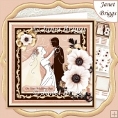 WEDDING BRIDE & GROOM Rose Gold 7.8 Decoupage & Insert Kit