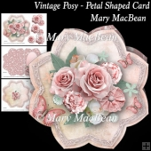 Vintage Posy - Petal Shaped card