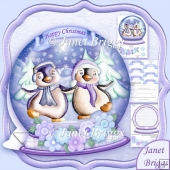 Christmas Snow Globe Dancing Penguins Shaped Card Mini Kit