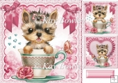 cute teacup yorkie puppy with bows 8x8