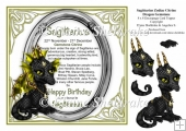 8 x 8 Sagittarius Zodiac Birthday Gemstone Dragon Decoupage Card