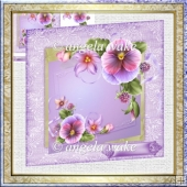 Summer pansy 7x7 card with decoupage