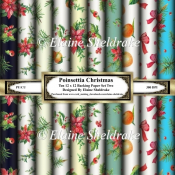 Poinsettia Christmas - Ten 12 x 12 Papers - Set One