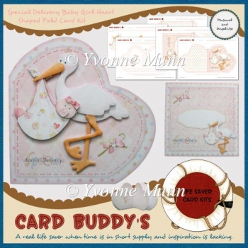 Special Delivery Baby Girl Heart Shaped Fold Card Kit