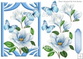 pretty blue magnolias with butterflies A5