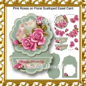 Pink Roses on Floral Scalloped Easel Card