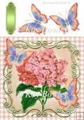 peach hydrangeas in gingham & ornate frame with butterflies 8x8