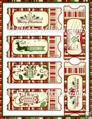 Christmas Greetings Ticket Set for Tags, Labels, Toppers