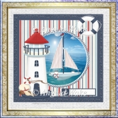The sailing boat 7x7 card with decoupage
