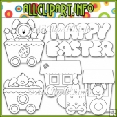 Funny Bunny Train Commercial Use Digital Stamps