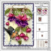 Fuschias, Lace & Bullfinch - 5 x 7 Card Kit With Decoupage