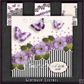 Vintage Flowers Stripes and Butterflies purple 1076