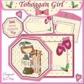 Toboggan Girl - Octagonal Tag Card