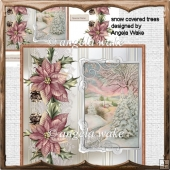 snow covered trees card approc 7x7 with decoupage