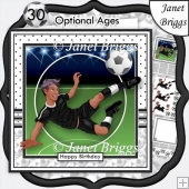 FOOTBALL STRIKER Ethnic 7.5 Black White Soccer Decoupage Ages