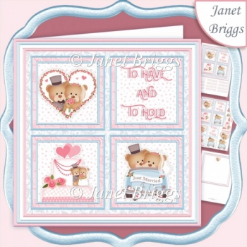 WEDDING BEARS Squares 7.5 Quick Layer Card & Insert Kit