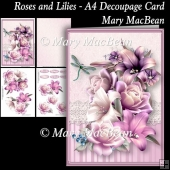 Roses and Lilies - A4 Decoupage Card