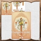 Lillies and cross card with decoupage
