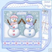 HANDS UP IF YOU LOVE CHRISTMAS 7.8 Snowmen Decoupage Kit