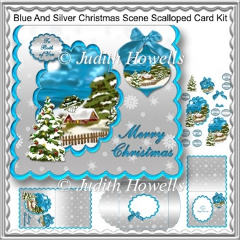 Blue And Silver Christmas Scene Scalloped Card Kit