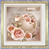 Summer rose 7x7 card with decoupage and sentiment tags