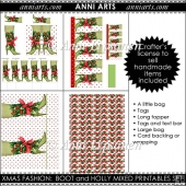 Xmas Fashion: Boot and Holly Mixed Printables
