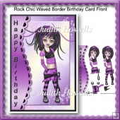 Rock Chic Waved Border Birthday Card Front