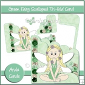 Green Fairy Scalloped Trifold Card