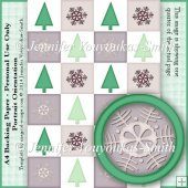 A4 Christmas Trees and Snowflakes Backing Paper 7-Portrait