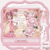 ELEGANT LADY IN PINK & Birthday Verse Decoupage Kit